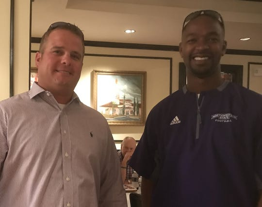 Logansport coach Kevin Magee and NSU  assistant head coach De'Von Lockett during Thursday's Victory Tour Stop at Superior Steak House.