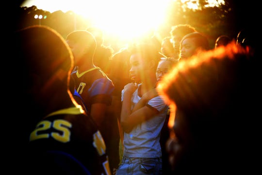 Hundreds of community members came out for the vigil of coach Roderick Gaut Thursday evening July, 25, 2019, at the Bill Cockrell Metro Park.