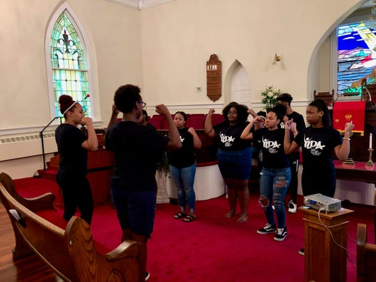 Members of this year's Youth Leadership and Development Academy run by Ebenezer Baptist Church practice a praise dance on July 26, 2019.