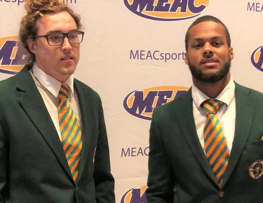 FAMU quarterback Ryan Stanley (left) and linebacker Elijah Richardson were in the mix at MEAC Media Day in Norfolk, Virginia to discuss the upcoming season.