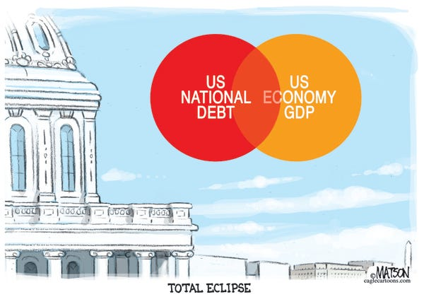 Cartoon: U.S. national debt is as big as GDP