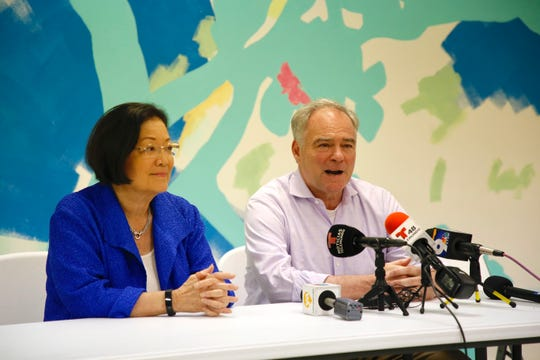 Mazie Hirono, a Senator of Hawaii and Virginia Senator Tim Kaine after touring immigration facilities in El Paso.