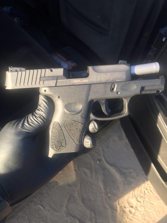 Loaded gun seized in Rodolfo Prieto Alfaro's vehicle.