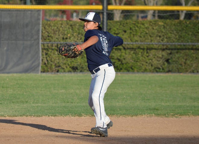 Visalia Blue All-Star Cole Martinez throws the baseball during practice on Tuesday at Visalia Riverway Sports Park.
