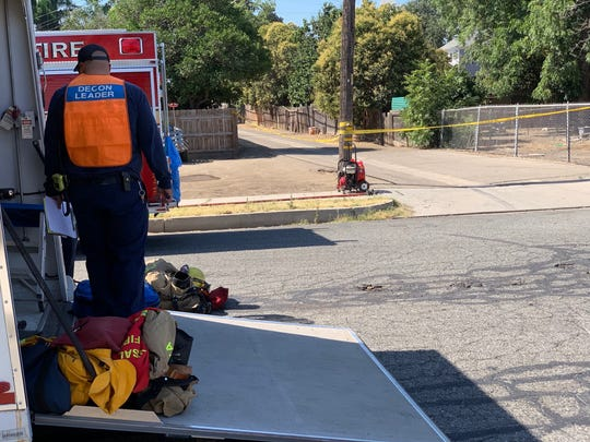 Visalia firefighters are on the scene of a hazmat call at Laurel Avenue and Court Street.