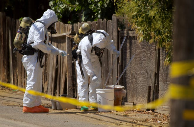 Visalia firefighters were called to a hazmat incident at Laurel Avenue and Court Street on Friday, July 26, 2019.