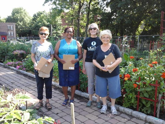Dolores Consentino, Louise Parker, Janet Fenton, Master Gardner and Marie Lorenzini were the judges for the annual Nyack Community Garden contest.