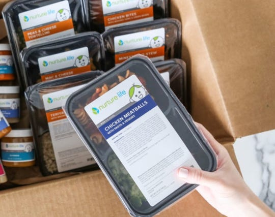 Nurture Life offers meal kits that increase portion size based on a child's age. One of the dishes includes chicken meatballs, pasta and vegetables.