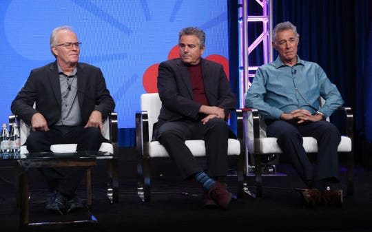 "Members of ""The Brady Bunch,"" cast, from left, Mike Lookinland, Christopher Knight and Barry Williams participate in HGTV's ""A Very Brady Renovation"" panel at the Television Critics Association Summer Press Tour."