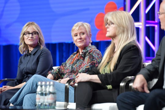 Maureen McCormick, left, Eve Plumb and Susan Olsen talked about 'The Brady Bunch' during a July Television Critics Association panel promoting HGTV's 'A Very Brady Renovation.'