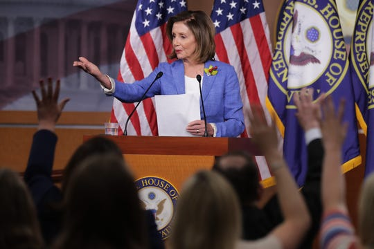 Speaker of the House Nancy Pelosi, D-CA, holds her weekly press conference at the U.S. Capitol Visitors Center July 26, 2019 in Washington, DC. The House of Representatives passed a 2-year budget deal Thursday that was struck between Pelosi and Treasury Secretary Steven Mnuchin.