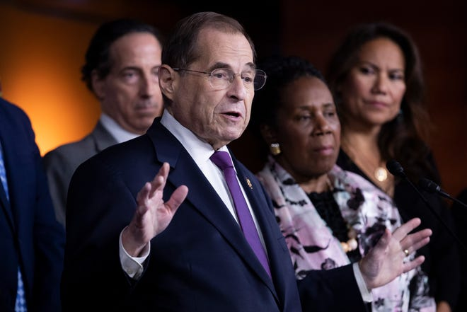 Chairman of the House Judiciary Committee Jerry Nadler, D-N.Y., holds a news conference with fellow members of the House Judiciary Committee on Friday, July 26. Nadler spoke on the strategy of Democrats following the testimony this week of former special counsel Robert Mueller. The House Judiciary Committee announced it is petitioning a federal judge to release Mueller's grand jury evidence.