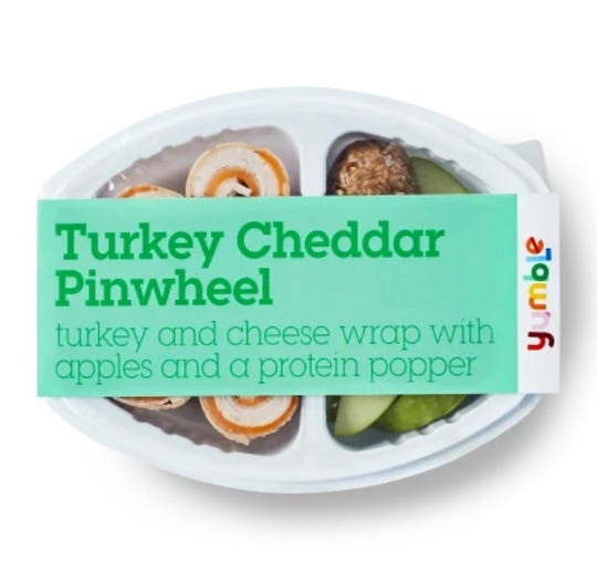 Turkey Cheddar Pinwheels is one of the most popular Yumble meals for lunchtime, according to company co-founder Joanna Parker. The kit also includes green apple slices and a protein popper made of rolled oats, flax seeds, coconut and sunbutter.