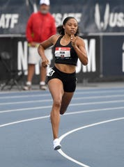 Allyson Felix places fourth in women's 400m heat in 52.20 during the USATF Championships at Drake Stadium.