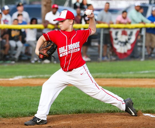 Holbrook starting pitcher Dylan Johnston in the 2019 NJ State Little League Tournament between Elmora and Holbrook in Sayreville on July 26, 2019. (Photo by Keith Muccilli, Correspondent)