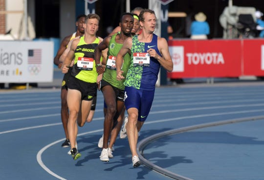 Erik Sowinski leads an 800-meter semifinal during the USATF Championships at Drake Stadium in Des Moines on Friday. Sowinski, a five-time NCAA All-American at Iowa, led for most of Friday's first heat before slipping to the middle of the pack and failing to qualify for Sunday's finals for the first time in years.