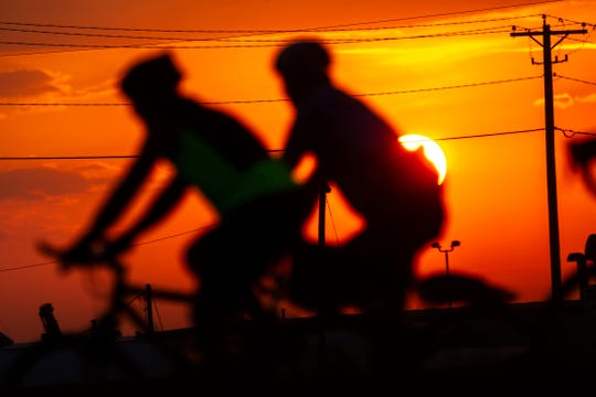 RAGBRAI riders kick off day seven, Saturday, July 27, 2019, outside West Burlington, Iowa.