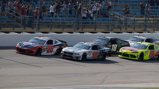 Christopher Bell (in the No. 20) became Iowa Speedway's all-time laps leader in the Xfinity Series during Saturday's U.S. Cellular 250.