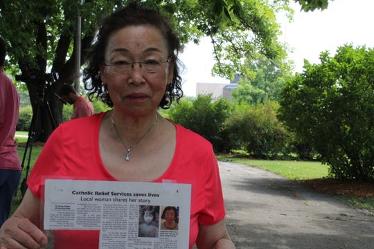 Anastasia Walsh, 76, fled her hometown of Seoul at the age of 8 with the rest of her family to escape North Korean troops during the Korean War. Walsh joined veterans of the war and other Korean Americans in commemorating the signing of the armistice to end the Korean War on Saturday, July 27, 2019, near the State Capitol Building in Des Moines.