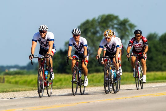 RAGBRAI riders pass through Charleston, Saturday, July 27, 2019, after making it to meeting town Donnellson on the way to Keokuk in south east, Iowa.