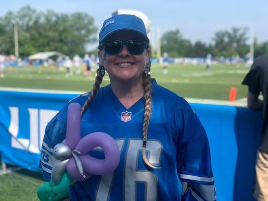Kristi Vanatta wearing her T.J. Lang jersey. July 27, 2019 at Lions training camp in Allen Park, Michigan.