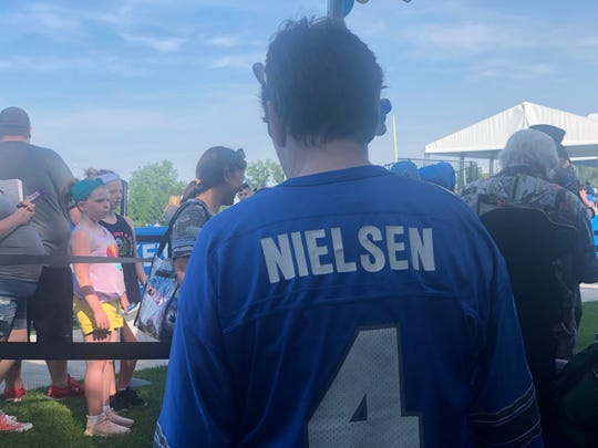 The back of Sue Nielsen's custom Jason Hansen hybrid jersey. July 27, 2019 at Lions training camp in Allen Park, Michigan.