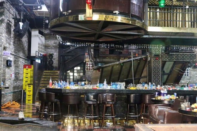 A collapsed internal balcony is seen at a nightclub in Gwangju, South Korea, Saturday, July 27, 2019.