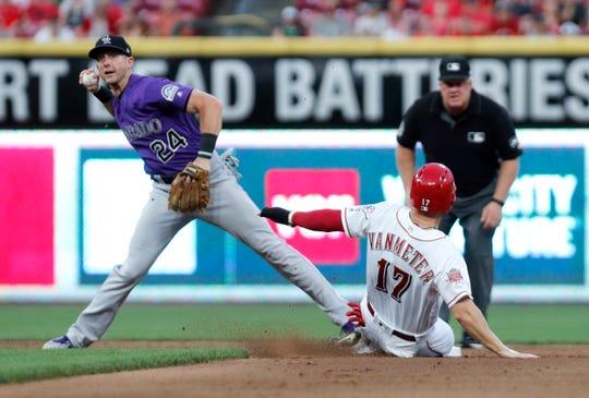 Colorado Rockies second baseman Ryan McMahon throws to first base in an effort to complete a double play Friday night after forcing Cincinnati's Josh VanMeter out at second base. The Rockies wrap up a 10-game road trip Sunday, with an 11:10 a.m. game at Cincinnati.