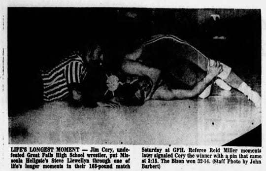 Jim Cory, top, was a two-time state wrestling champion for Great Falls High and undefeated as a senior in 1970.