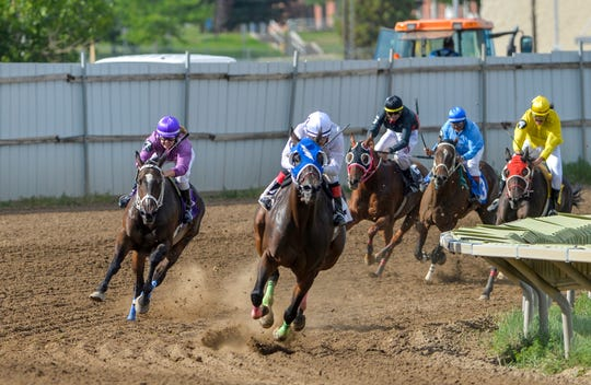 Horse racing at the Montana State Fair on Friday, July 26, 2019.