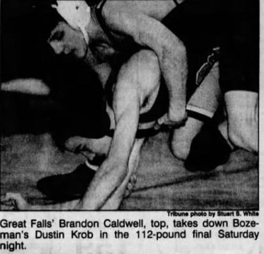 Brandon Caldwell, top, was a three-time state wrestling champion for Great Falls High.