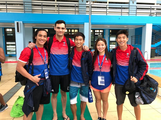 The swimmers representing Guam at the XVI Pacific Games in Samoa are, from left: Jagger Stephens, Benjamin Schulte, Mark Imazu, Mineri Gomez and Sebastian Castro. Schulte won swimming's only medal for Guam, a silver in the 50-meter breaststroke.