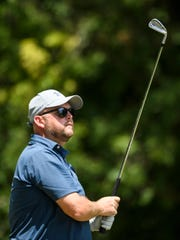 Andy Davis tees off on hole 12 during the first round of the Jace Bugg City golf tournament at The Bridges Golf Course in Henderson, Ky., Saturday, July 27, 2019.
