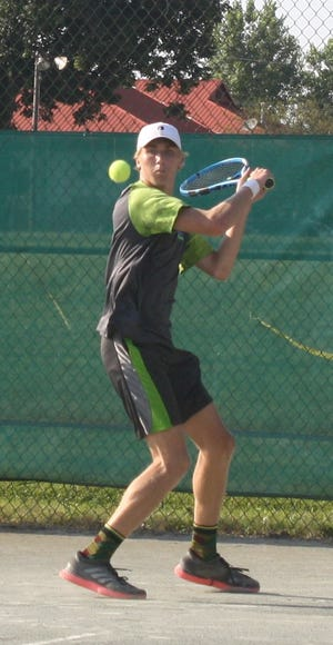 Benton Drake prepares to hit a backhand en route to winning the boys 18 title Friday in the 86th News Journal/Richland Bank Tennis Tournament at Lakewood Racquet Club.
