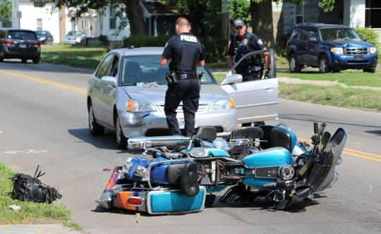 Officers from the Marion Police Department investigate a crash that occurred Saturday afternoon at the intersection of E. Fairground St. and N. State St. The crash involved two motorcycles and a Hyundai sedan. One of the motorcyclists was injured and taken to OhioHealth Marion General Hospital.