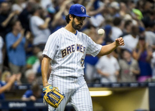 Brewers pitcher Gio Gonzalez shows his frustration after giving up a two-run homer in the sixth inning.