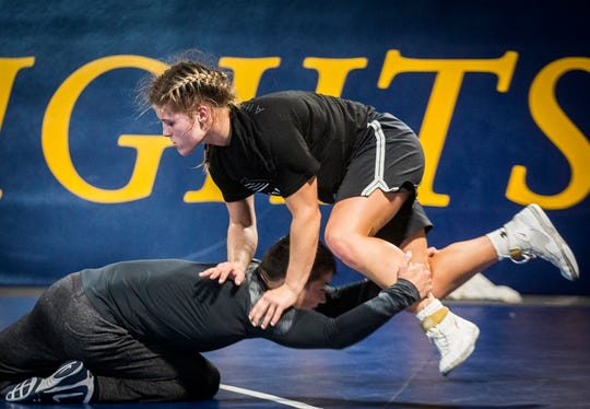 Alara Boyd practices at Marian University on Wednesday, July 3, 2019. Boyd, a Yorktown high school graduate, will compete in August for a world title.