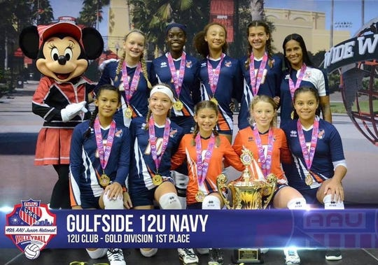 The Gulfside 12U Navy team won the AAU national championship last month at Walt Disney's Wide World of Sports Complex. The girls also finished second at USA Volleyball Junior Nationals earlier this month. Members of the team are Maleda Azunque, Allison Giraldo. Alexa Haley, Jasmine Jay, Milena Lopez, , Cassandra Maldonado, Amy O'Leary ,Samantha Soderlund, and Zara Stewart. The team was coached by Gregner Gotay.