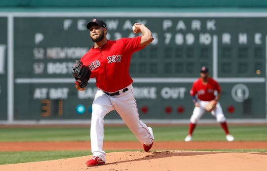 Jul 27, 2019; Boston, MA, USA; Boston Red Sox starting pitcher Eduardo Rodriguez (57) throws a pitch against the New York Yankees in the first inning at Fenway Park.