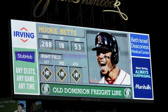 Jul 26, 2019; Boston, MA, USA; A view of the center field scoreboard during Boston Red Sox right fielder Mookie Betts (50) fourth at bat during the sixth inning against the New York Yankees at Fenway Park.