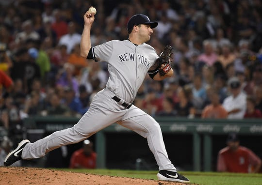 Jul 26, 2019; Boston, MA, USA; New York Yankees relief pitcher David Hale (75) pitches during the sixth inning against the Boston Red Sox at Fenway Park.