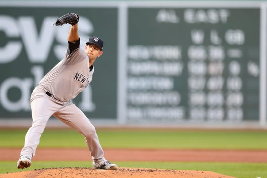 Starter James Paxton in the first inning of a game against the Boston Red Sox at Fenway Park on July 26, 2019 in Boston, Massachusetts. Entering this game, the Yankees five-man rotation had completely sputtered during this turn, pitching to a collective 15.59 ERA (41 earned runs in 23.2 innings). Paxton allowed seven earned runs in four innings Friday.