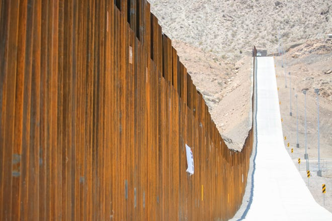 """The """"Symposium at the Wall: Cartels, Trafficking and Asylum"""" was held near the privately builtborder wall in Sunland Park, New Mexico. It was constructed by the WeBuildTheWall organization on American Eagle Brick Co. property. It is shown on Saturday, July 27, 2019."""