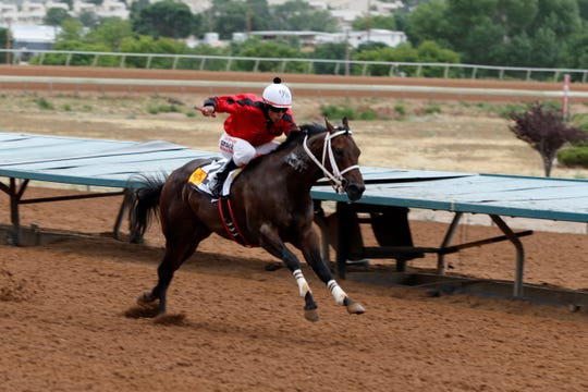 Don Chuy C sprints to the finish to win the quarter mile $50,000 quarter horse overnight stakes race at the Riudoso Downs during the 2019 Zia Fest.