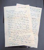 One of the WWII love letters between Yvonne (née Vanzant) and Clayton Franklin in Pensacola on Thursday, July 25, 2019.  Chelsea Parker and her boyfriend Jason Boatwright bought the letters at a local antique shop and tracked down the Franklins' grandchildren to return the letters which were mistakenly sold at a garage sale.