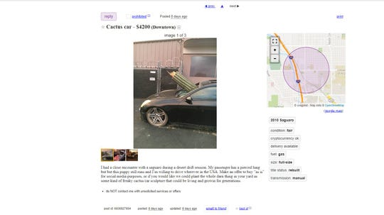 Car with cactus through windshield listed on Craigslist without driver's consent