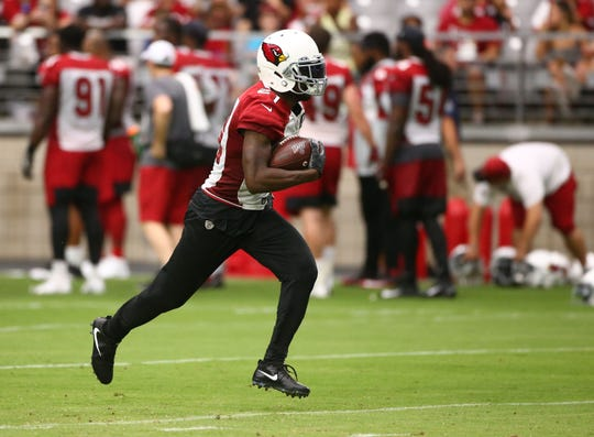 Arizona Cardinals cornerback Patrick Peterson intercepted a Kyler Murray pass during training camp on July 26, 2019 in Glendale, Ariz.