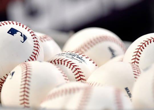 Jul 26, 2019; Miami, FL, USA; A detail shot of baseballs are seen prior to a game at Marlins Park. Mandatory Credit: Steve Mitchell-USA TODAY Sports