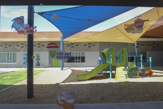 School administration hopes to expand playground equipment at the Gila Crossing Community School in Laveen, Ariz., on July 27, 2019.