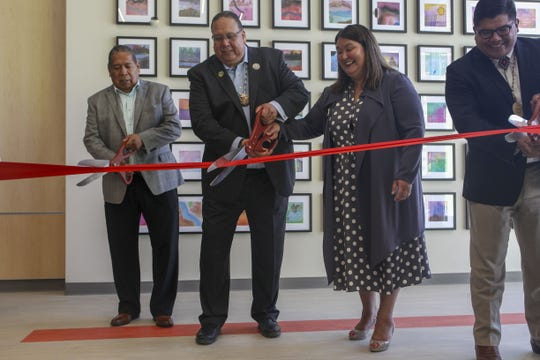 L to R are GRIC Lt. Gov. Robert Stone, GRIC Gov. Stephen Lewis, Assistant Secretary Tara Katuk Mac Lean Sweeney, and Deputy Assistant Secretary Mark Cruz who together cut the ribbon to open the Gila Crossing Community School in Laveen, Ariz., on July 27, 2019.